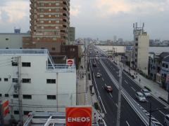 """屋上からの景観""""国道2号線"""""""